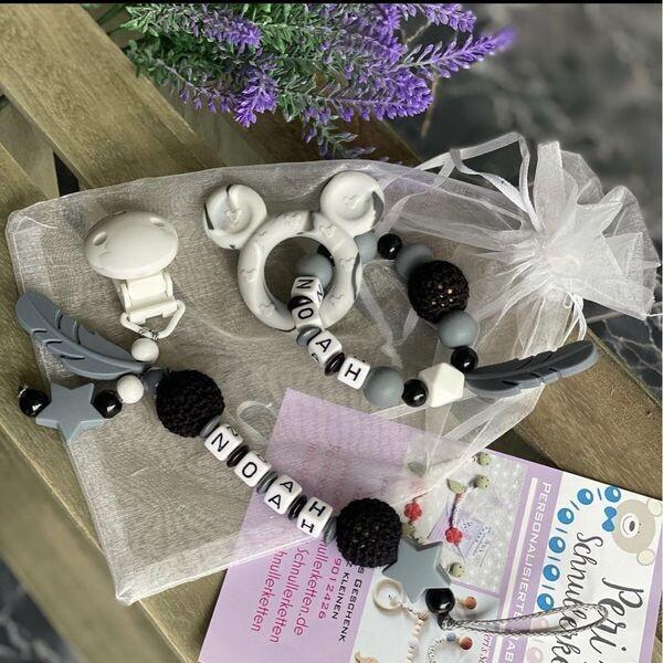 Schnullerkette + Greifling grau/ schwarz/weiß