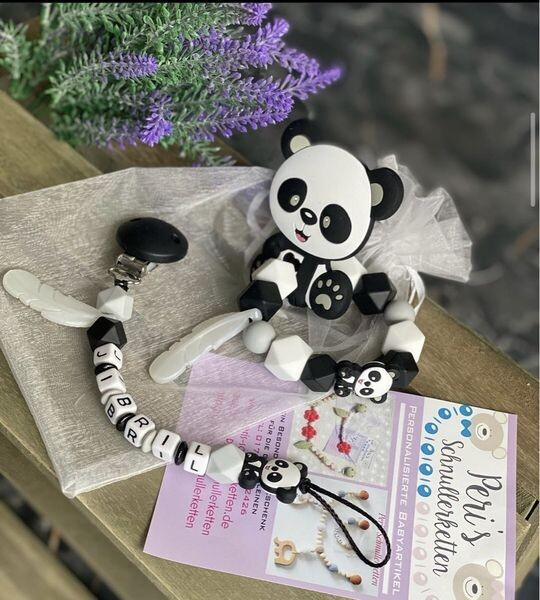 Schnullerkette + Greifling Panda