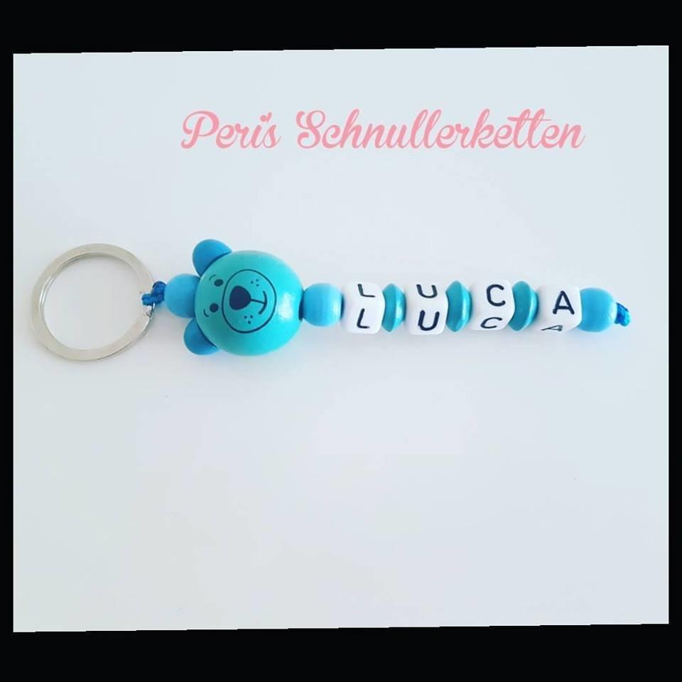 Schlüsselanhänger blau Teddy
