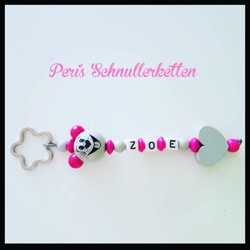Schlüsselanhänger Maus/ Herz pink/grau