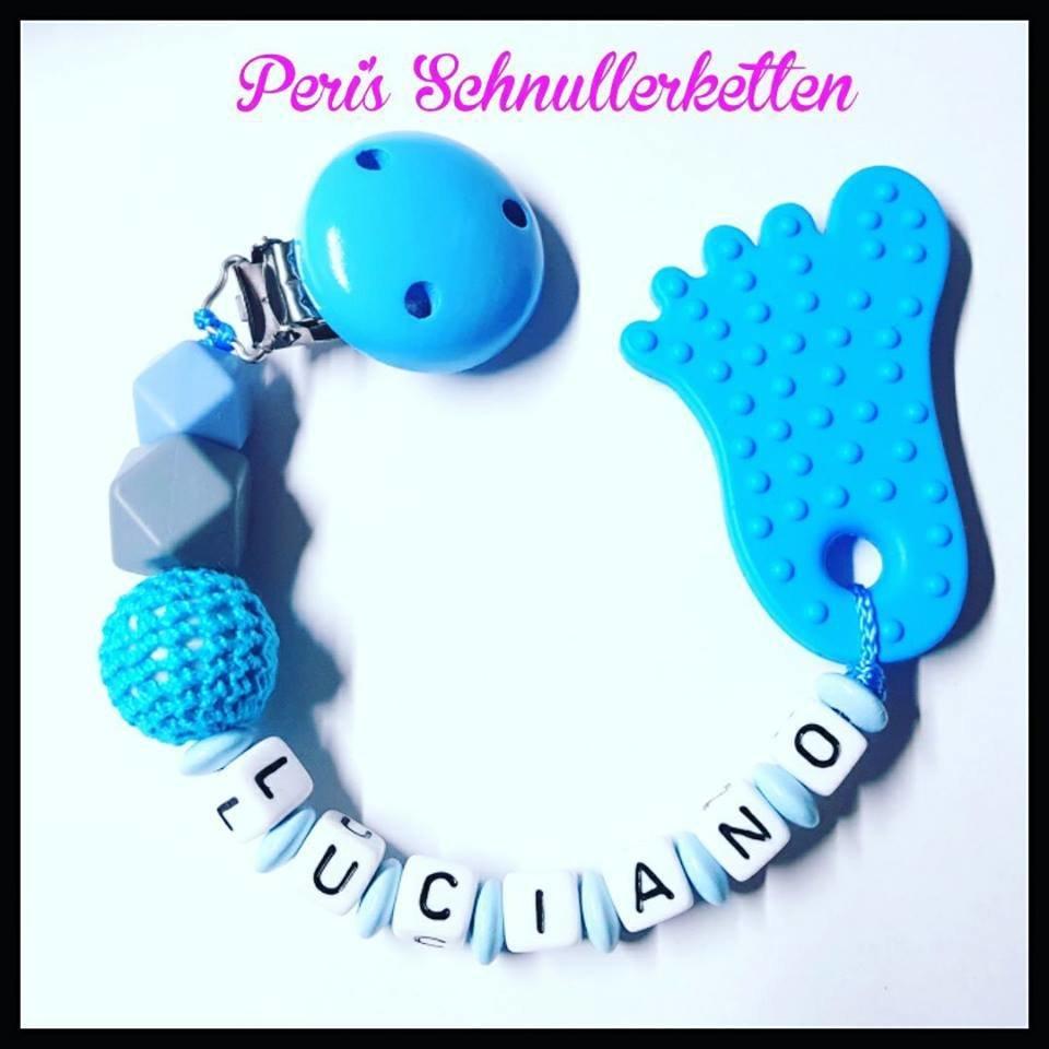 Beiskette mit Silikonfuß /  Silikon Hexagon/ Häkelperle blau