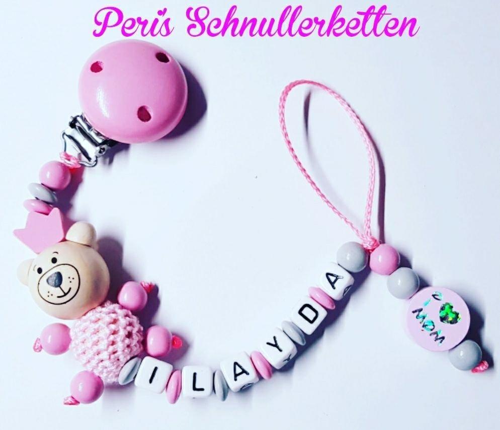 Schnullerkette Teddy / I love mom  rosa