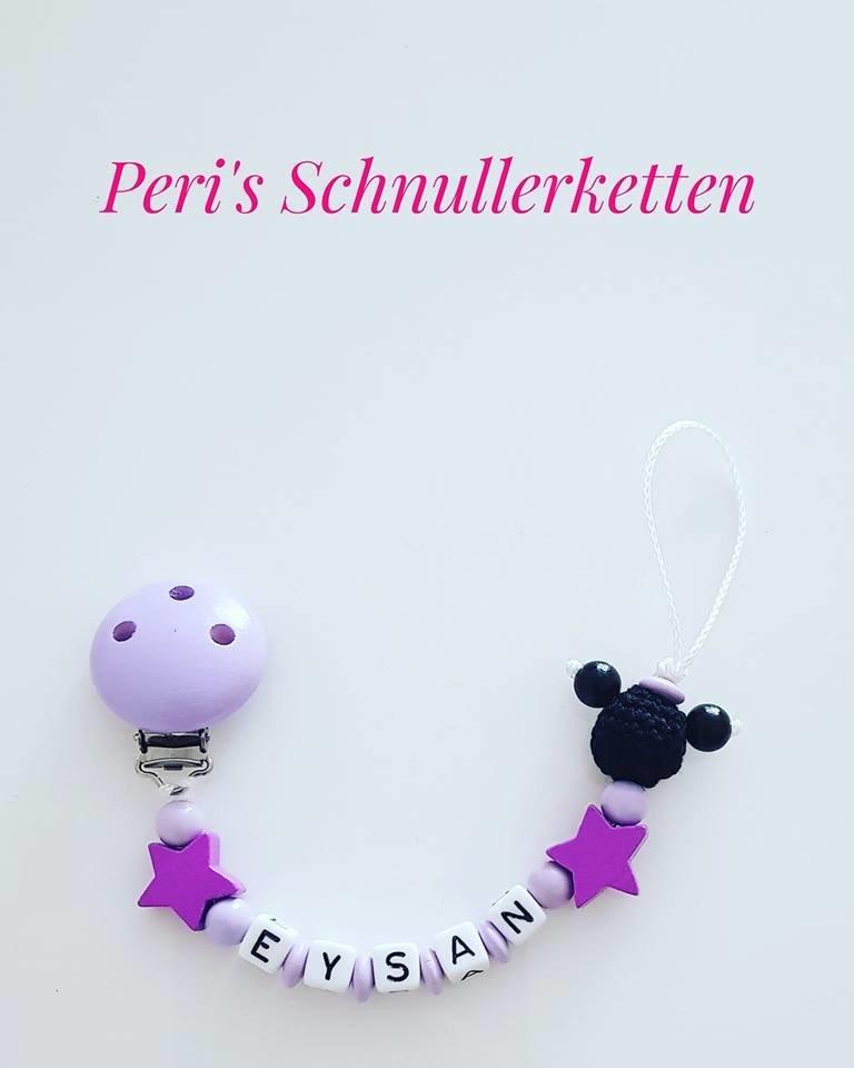 Schnullerkette Mini Maus/ Sterne, flieder/ lila