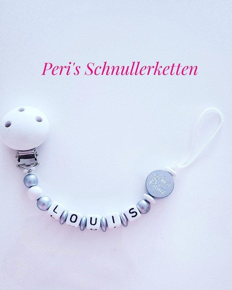 Schnullerkette kleiner Prinz Silber/ weiß