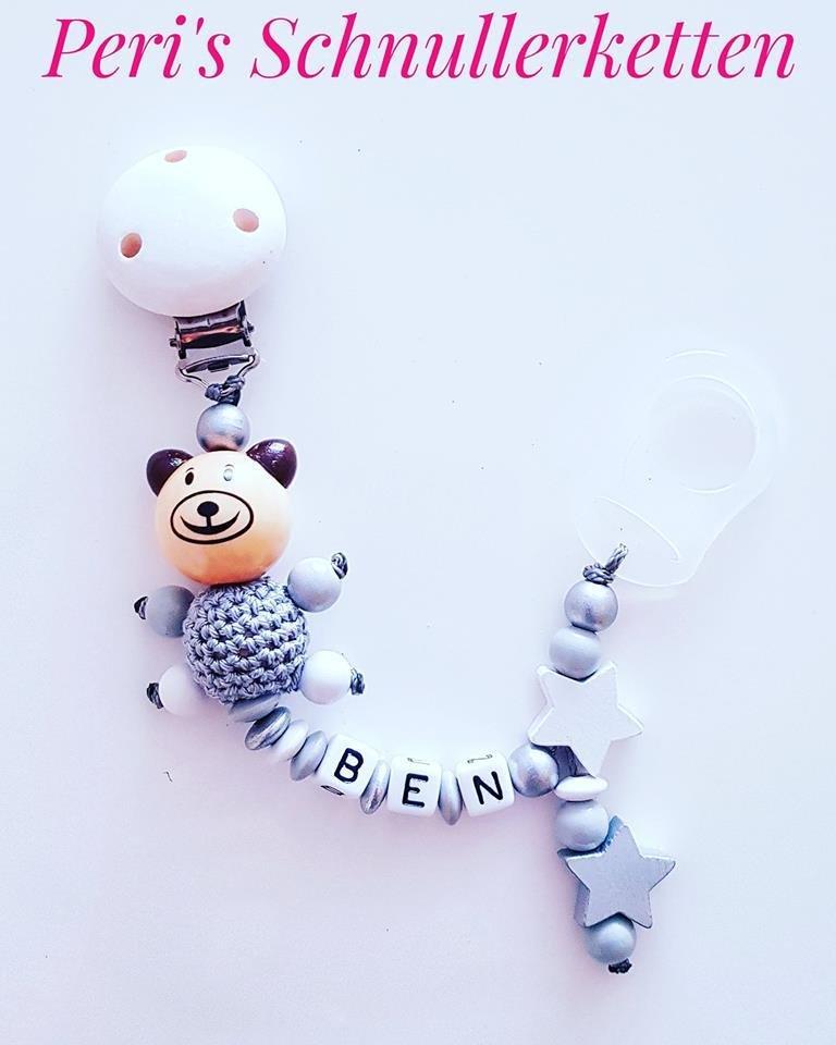 Schnullerkette Teddy 3D  Silber/ weiß