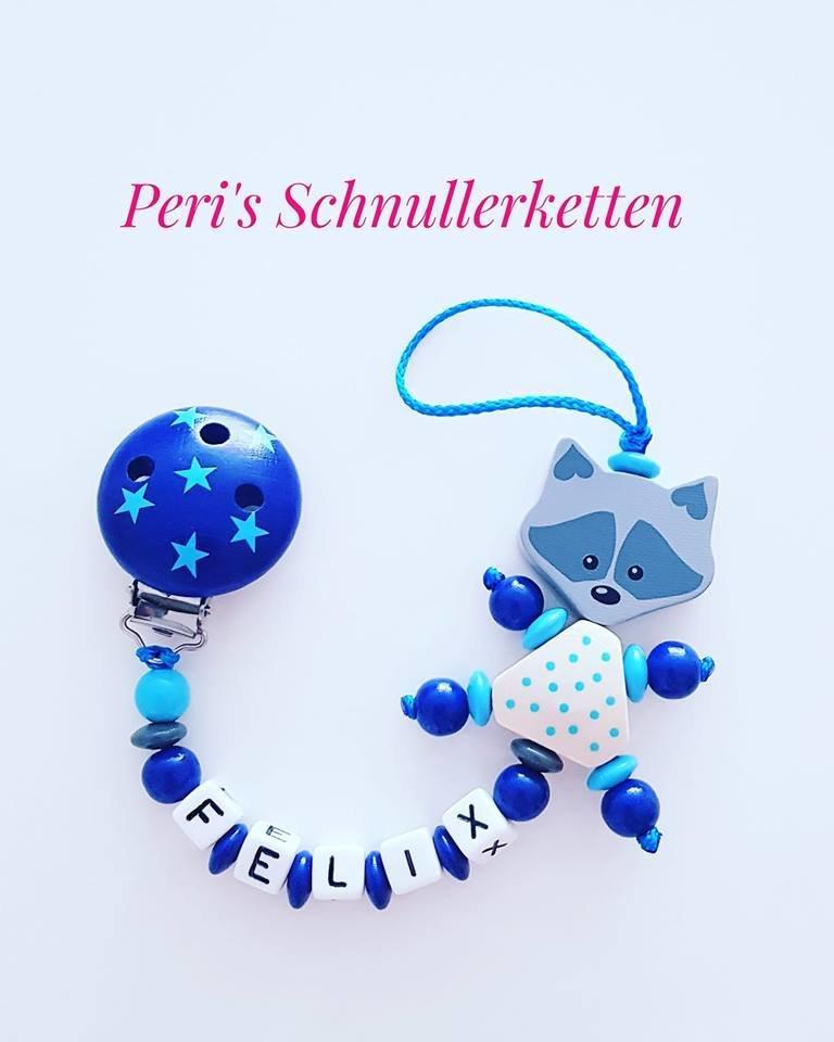 Schnullerkette Waschbär, blau/dunkelblau