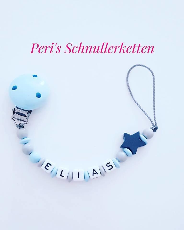 Schnullerkette hellblau / Stern