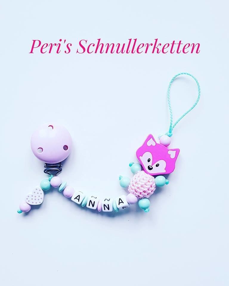 Schnullerkette Fuchs / Herz,  rosa / mint
