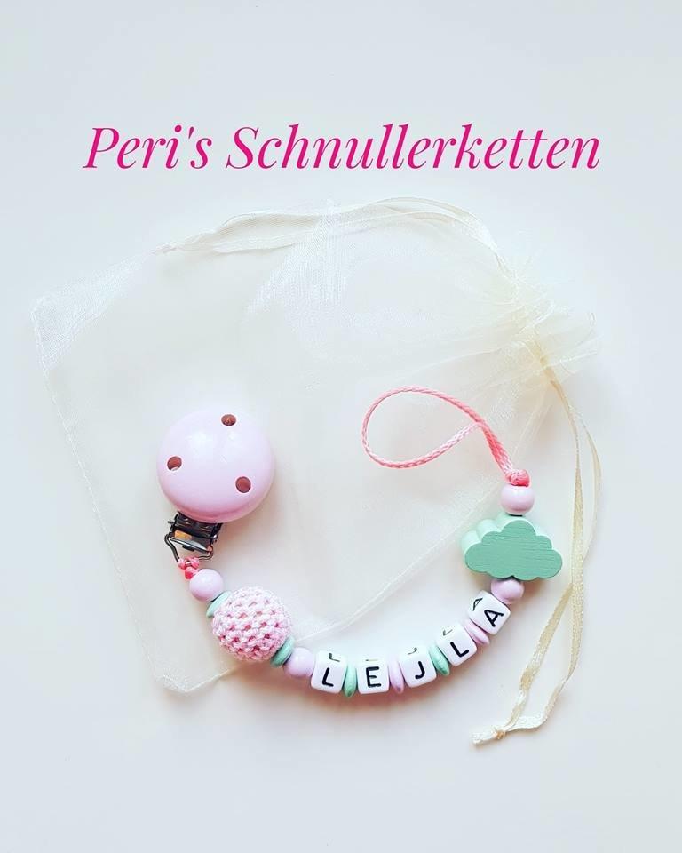 Schnullerkette Häkelperle / Wolke,  rosa / mint