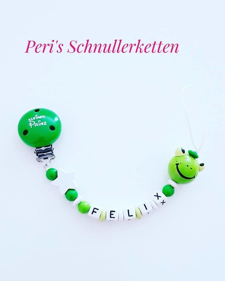 Schnullerkette Frosch/ Stern,  grün/ weiß