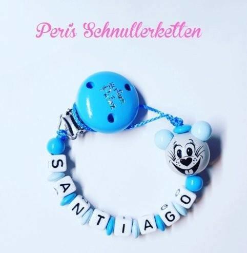 Schnullerkette kleiner Prinz , Maus, blau