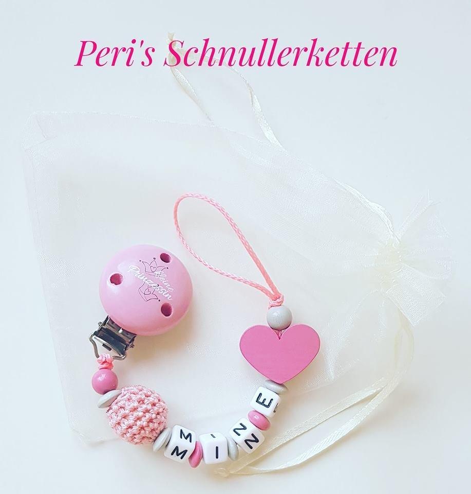 Schnullerkette Häkelperle / Herz,  rosa / grau