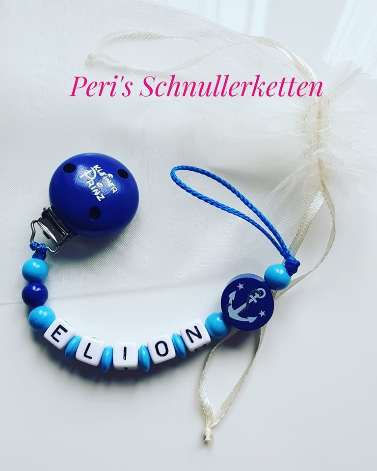 Schnullerkette kleiner Prinz/ Anker , blau