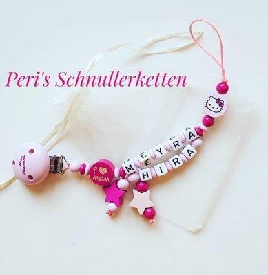 Schnullerkette Hello Kitty mit Doppelnamen, Sterne und i love Mum/Dad