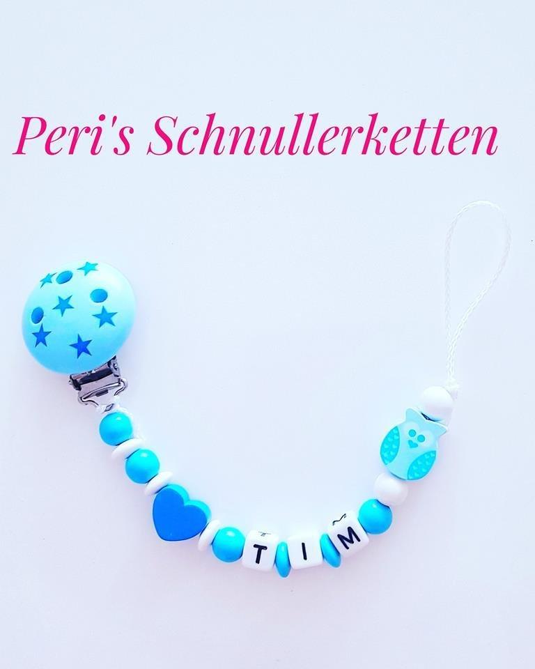 Schnullerkette Eule/ Herz  blau / weis Sterne