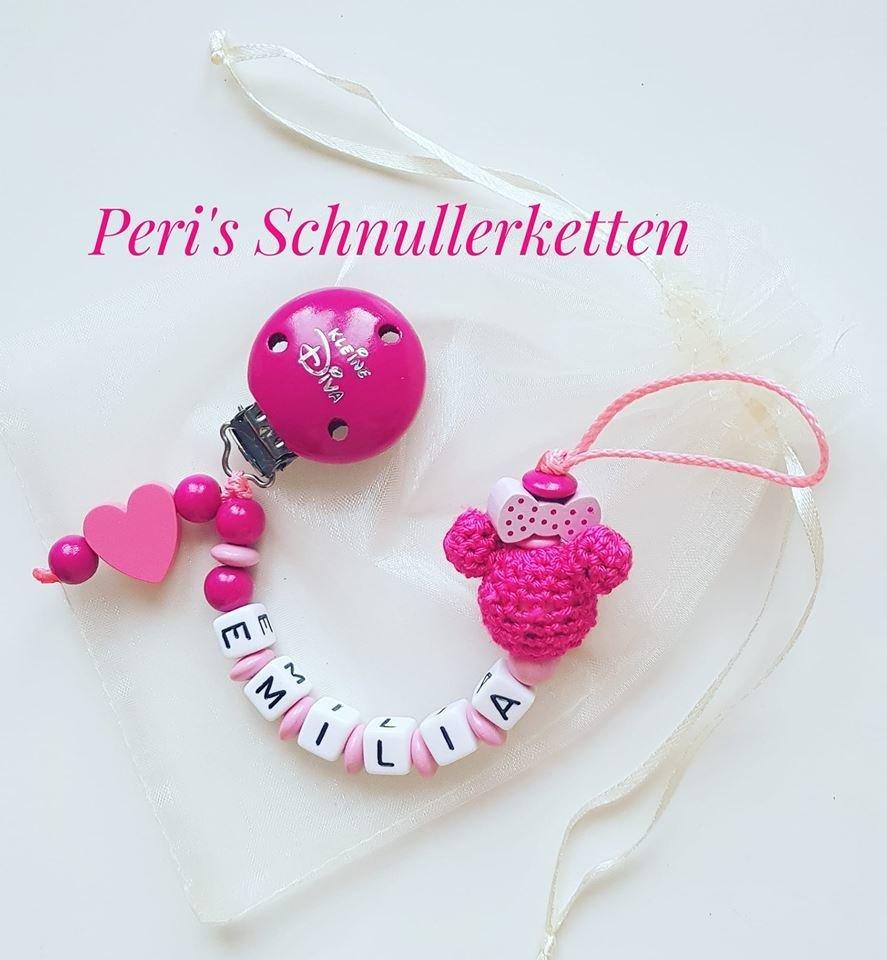 Schnullerkette Mini rosa/pink mit Herz und Kleine Diva Clip