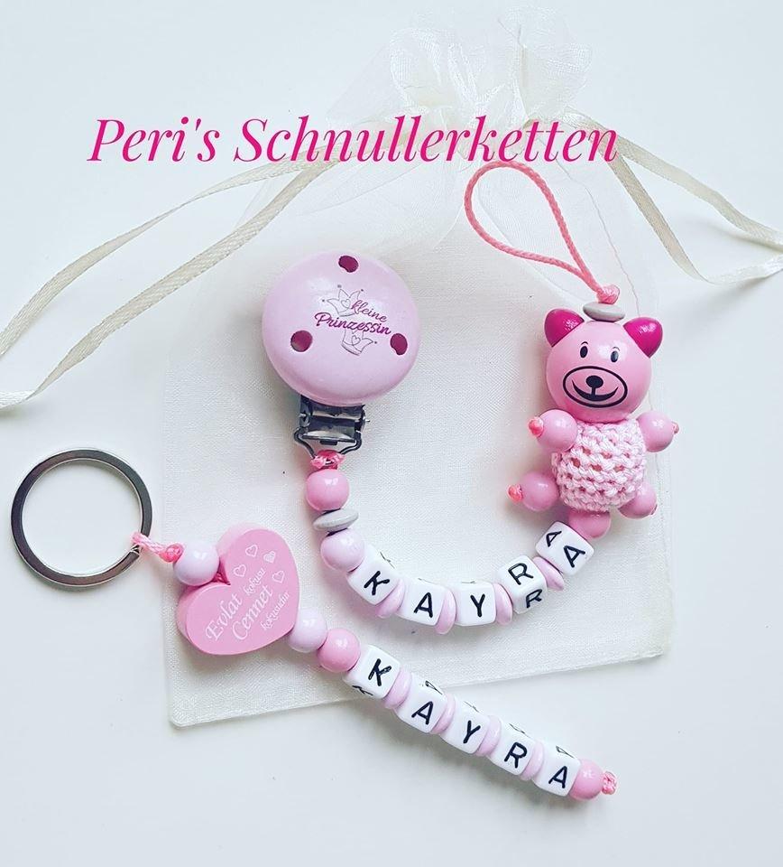 Schnullerkette Teddy rosa/pink mit  kleine Prinzessin Clip