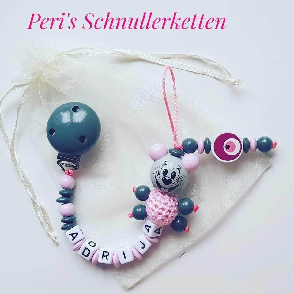 Schnullerkette Maus+ Nazar pink/grau