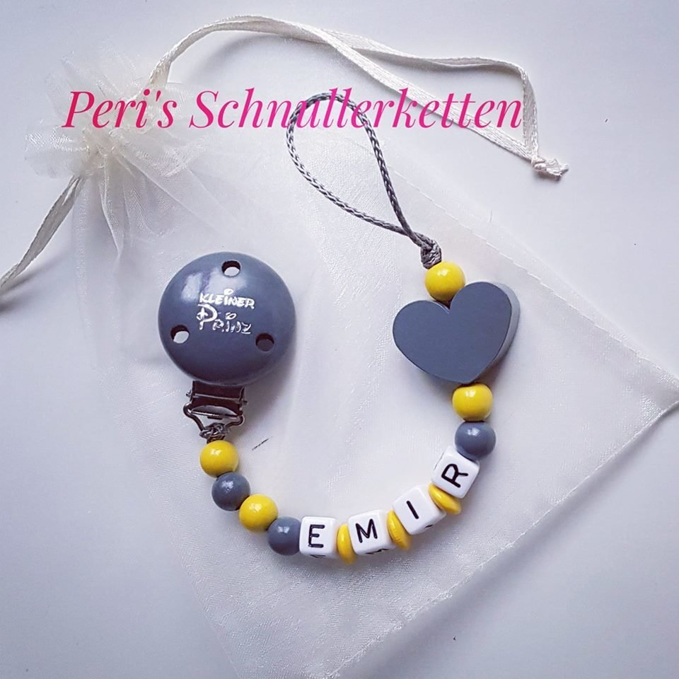Schnullerkette kleiner Prinz, Herz , grau/gelb