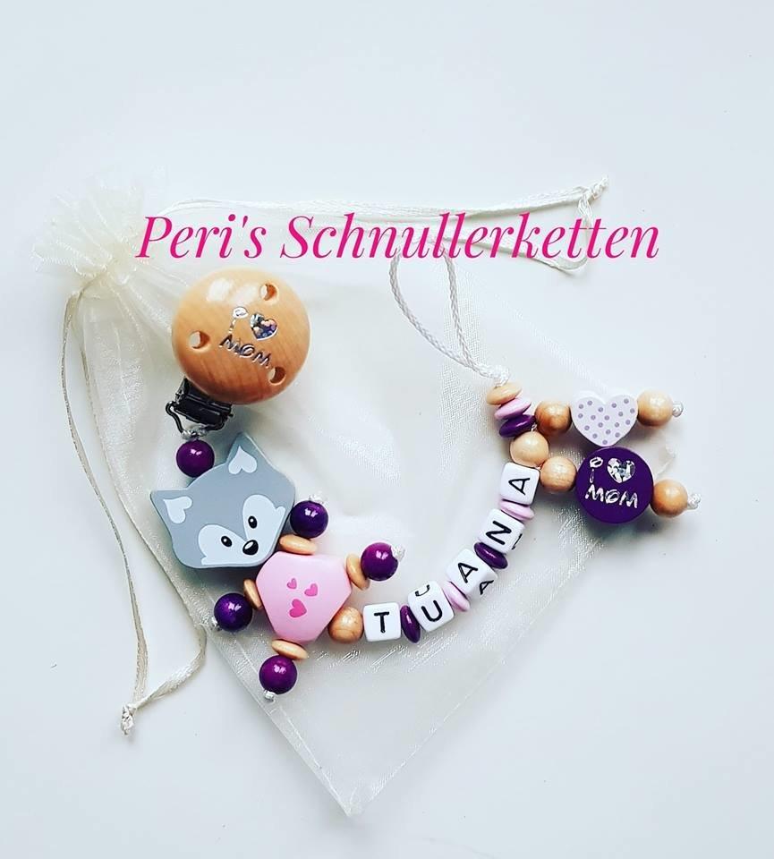 Schnullerkette Fuchs , I love Mom ,  dunkel lila/natur