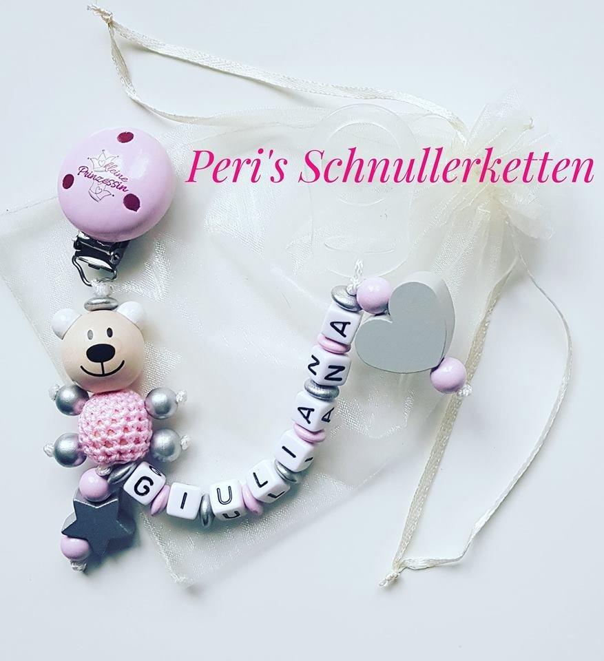 Schnullerkette Teddy , kleine Prinzessin ,  silber/ rosa