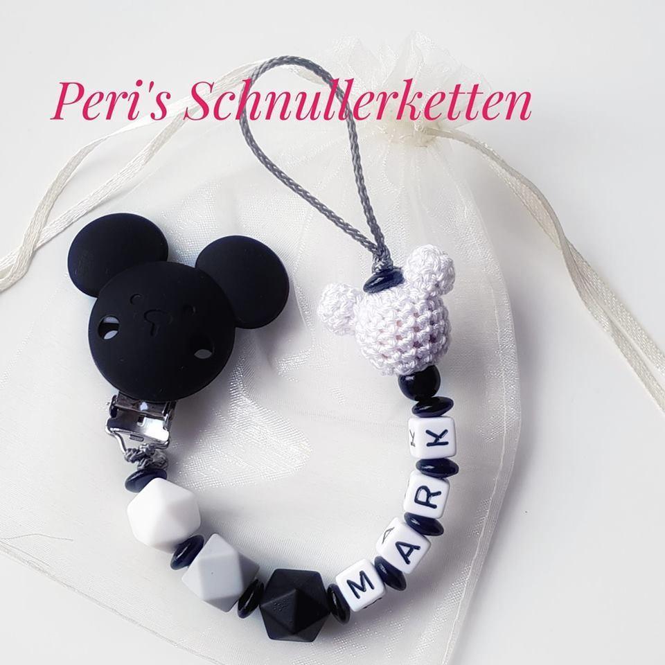 Schnullerkette Maus, schwarz/ weiß/ grau