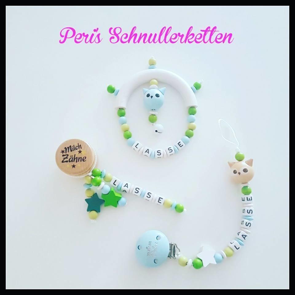 Set Greifling + Schnullerkette + Milchzahndose Eule / Sterne