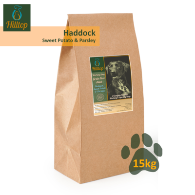 Hilltop Grain Free Adult Working Dog - Haddock with Sweet Potato & Parsley 15kg