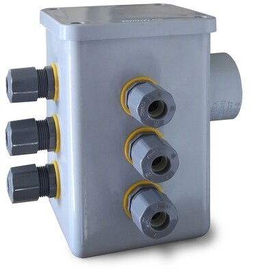 """Anua Junction Box With 4 Cord Grips, 1-1/4"""" Hub & Grommet"""