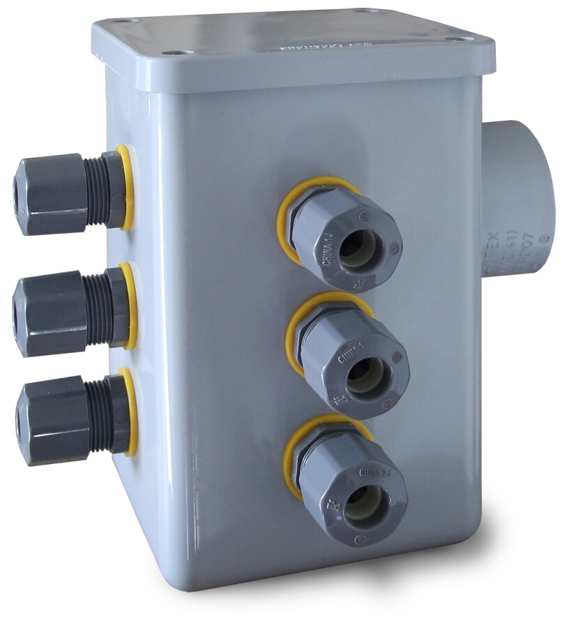 """Anua Junction Box With 4 Cord Grips, 1-1/4"""" Hub & Grommet, 3 Cord Grips on Side and 1 on Front"""