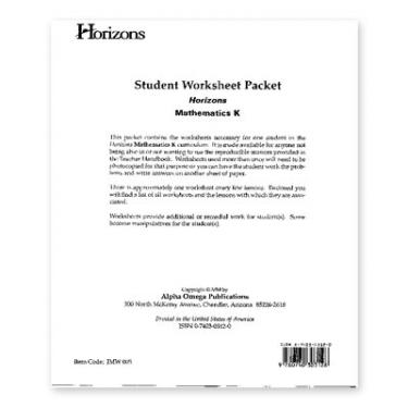 Horizons Math K Student Worksheet Packet