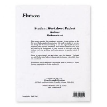 Horizons Math 4 Student Worksheet Packet