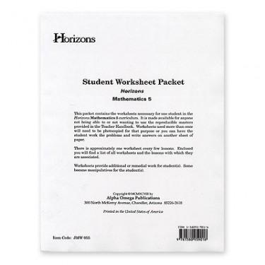 Horizons Math 5 Student Worksheet Packet