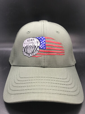 pja/ Cap - PJ Inspired Green Cap w/USAF Pararescue Flash & Tattered Flag
