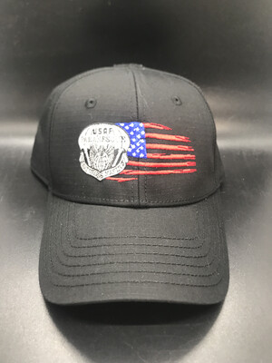 pja/ Cap - PJ Inspired Black Cap w/USAF Pararescue Flash & Tattered Flag
