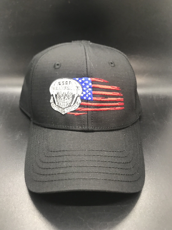 pja/ Cap - PJ Inspired Black Cap w/USAF Pararescue Flash & Tattered Flag