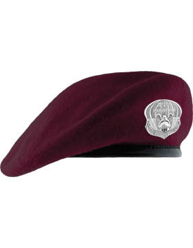 pja/ Beret, Maroon (Lined w/Leather band) & PJ Flash