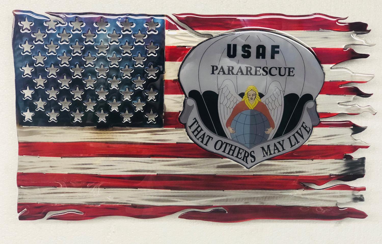 pja/ Flag - Metal Tattered Flag with Painted PJ Flash