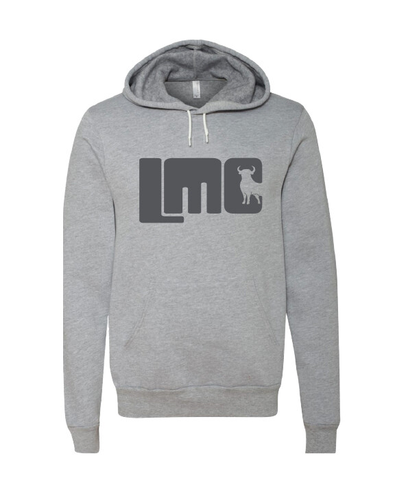 LMC Gray Bull Hoodie with Dark Gray Logo-  Adult Medium