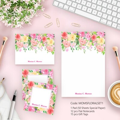 Mother's Day Floral Stationery set