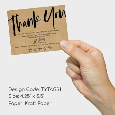 Thank You Card (kraft paper, black print)