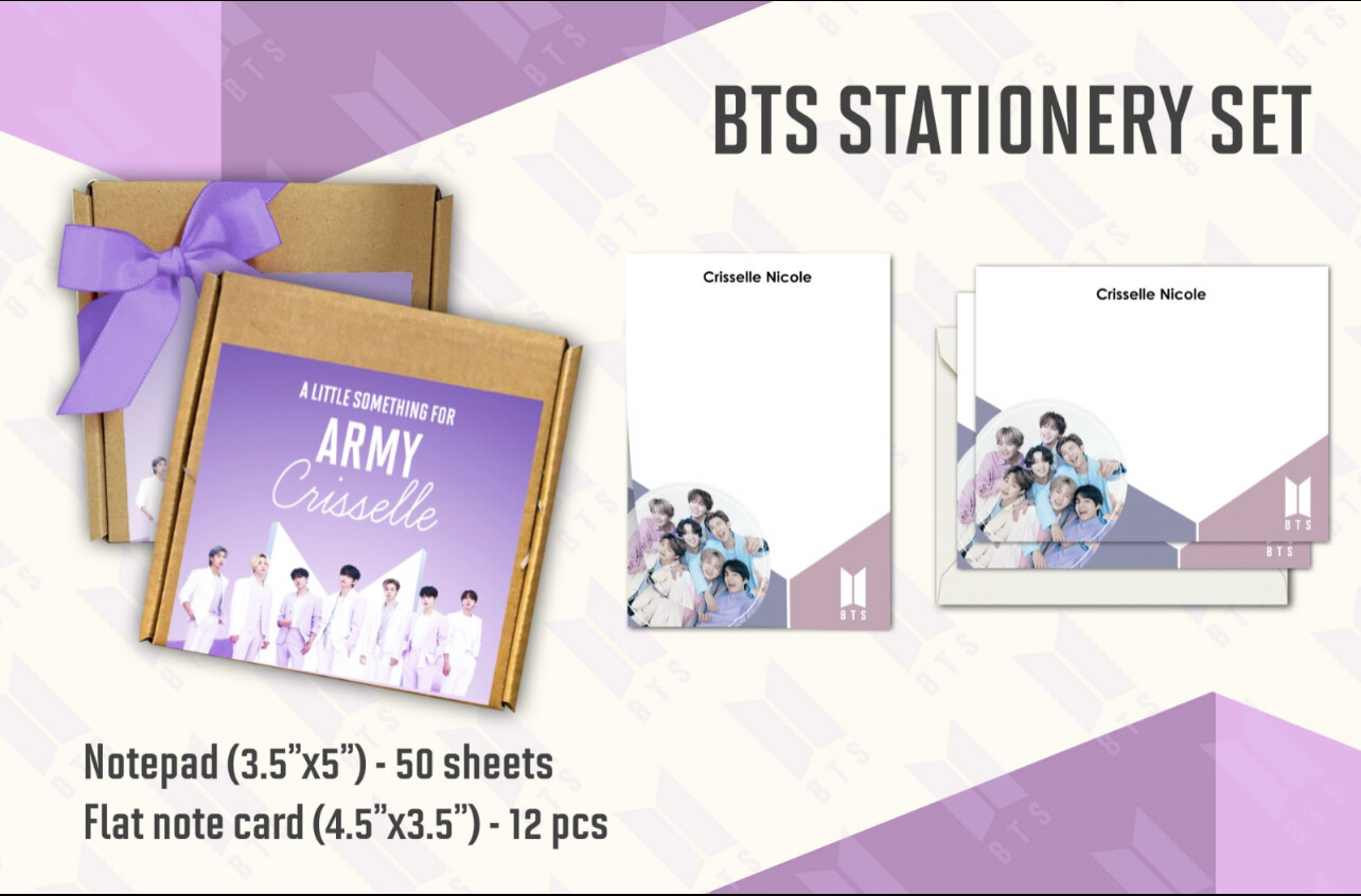 BTS Stationery Set (notepad and notecard)