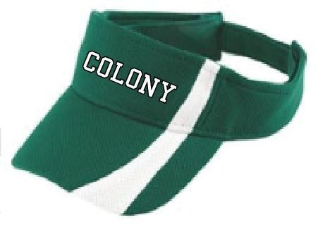 Colony embroidered green and white visor
