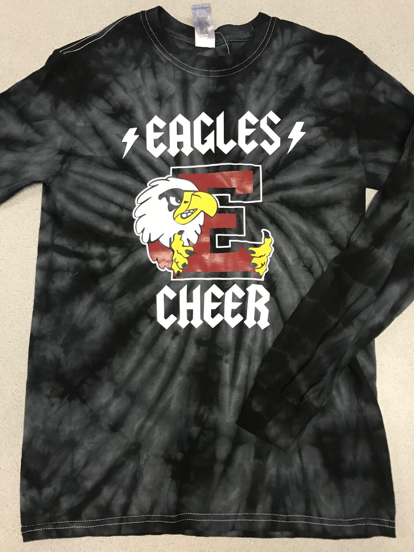 Eagles Cheer Back in Black long sleeve Tie Dye tee