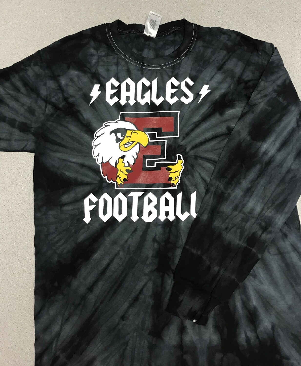 Eagles Football Back in Black long sleeve Tie Dye tee