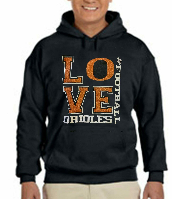 Orioles Love # Football glitter Fleece Hoodie
