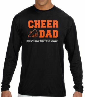 """Cheer Dad """"The only thing I flip is my wallet"""" Cooling Performance long sleeve  T-Shirt - Black"""