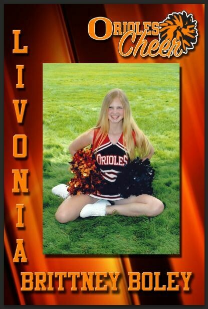 Orioles Cheerleader corrugated plastic yard sign with step stake or vinyl banner