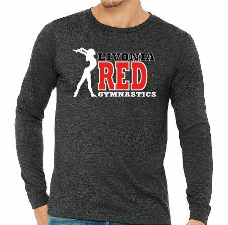 Livonia Red Gymnastics Design 1 - BELLA+CANVAS® Adult Unisex Long Sleeve Jersey Tee