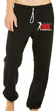 Livonia Red Logo - Bella + Canvas Unisex Sponge Fleece Long Scrunch Pant - black